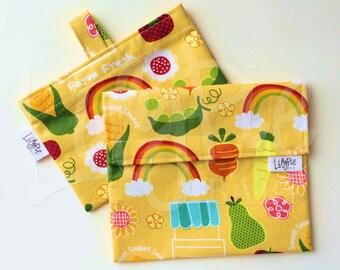 Reusable Sandwich Bag & Reusable Snack Bag Set in FARM FRESH print - Velcro - ECOfriendly - Food Safe - Dishwasher Safe - Back to School