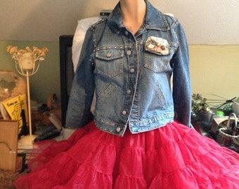 Hot Red Square Dance Petticoat HUGE 80 yard vintage soft Crinoline Petticoat, Shimmery, SAM'S size Small