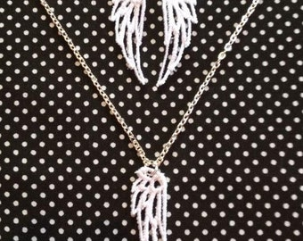 SALE** Free standing lace wing necklace & earring set