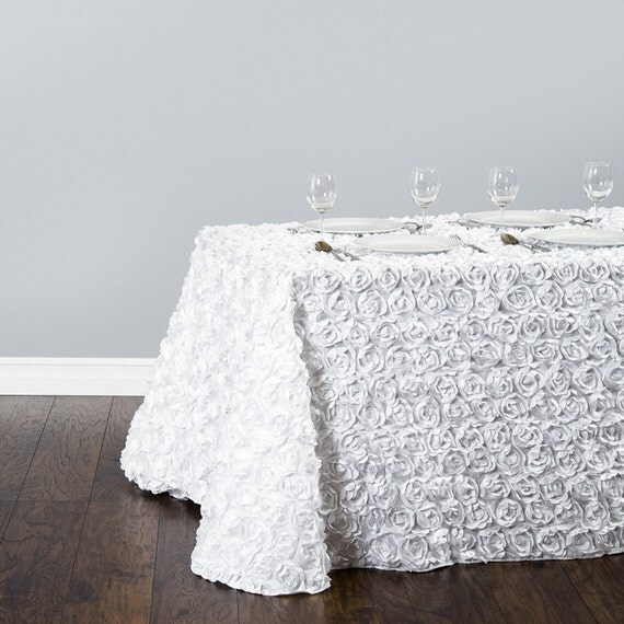 8 ft white rosette table cloth 90x156 wedding by sparklesoiree. Black Bedroom Furniture Sets. Home Design Ideas