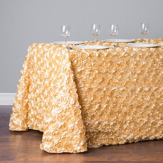 8 ft light gold rosette table cloth 90x156 by sparklesoiree. Black Bedroom Furniture Sets. Home Design Ideas