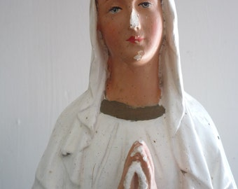 Vintage French Chalkware Statue Virgin Mary Our Lady of Lourdes