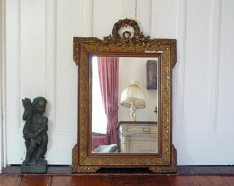 Gilt Gesso Antique French Mirror with Original Glass