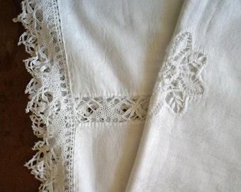 Vintage French Cotton Table Cloth with Lace Detail Hand Worked