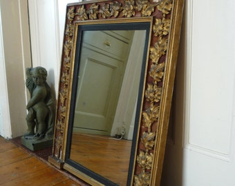 Early Victorian Mirror with Gilded Vine Leaf Decoration