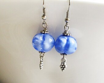Periwinkle Lampwork Earrings Periwinkle Jewelry Glass Bead Erarings Dangle Earrings Beadwork Beaded Earrings Christmas Gift Ideas For Her