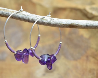 Amethyst earrings, Amethyst jewelry, Gemstone earrings, Hoop earrings, Sterling hoops, Purple earrings, February birthstone, Gift for her