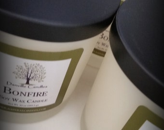 Bonfire Soy Candle Smells like Crackling Firewood/Man Candle Fall Winter Candles