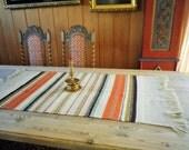 Norwegian vintage  Norwegian weaving .Norwegian folk art . Old woven wool table runner .Traditionally Norwegian crafts.
