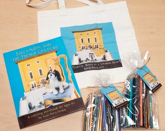 """Coloring Book gift pack - """"Follymops and the French Chateau"""" (Black and white) - Cavalier King Charles spaniels"""