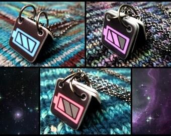 Communication Necklace - Batteries - Pastel Colors - Gunmetal Chain
