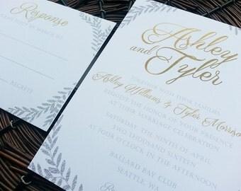 "Rustic Glam Wedding Invitation/RSVP Set - ""Sierra"" - Digital File"