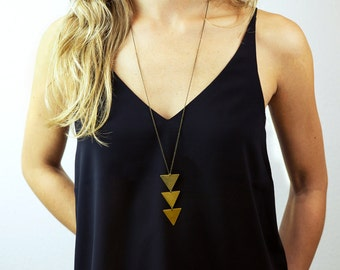 Long Geometric Necklace, Triangles, Chevrons // NEFERTITI NECKLACE // Triangle Necklace // Bohemian Fringe