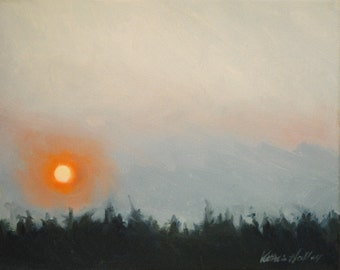 Hazy Sunrise over the Trees- Early Dawn Summer Morning- Original Landscape Oil Painting
