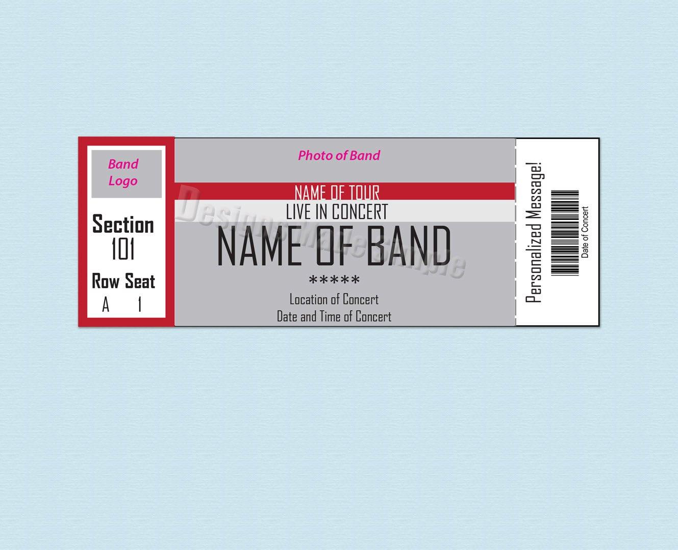 Concert ticket stub – Blank Concert Ticket Template