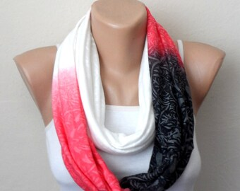 black white pink infinity scarf combed cotton multicolor loop scarf summer scarf bohemian scarf womens scarf gift for her