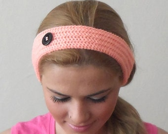 orange knitted headband  buttons more light pink hair bands knit headband birthday gift for her