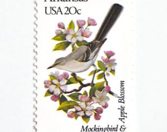 10 Unused Mockingbird Vintage Postage Stamps // Mockingbird & Apple Blossom // Arkansas State Bird and State Flower