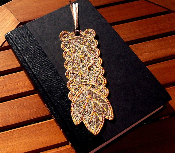 Fall Leaves Bookmark: freestanding lace embroidered journal marker, lace leaf book mark, gift for book lover, FSL bookmark for women