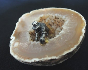 Quartz Geode with Pewter Miner Inside - Unusual Souvenir of the American West - 1970s