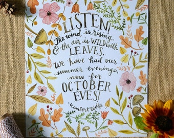 Fall Art Print/ Fall Quote/ Autumn Quote Art/ Watercolor Quote/ Fall Decor/ October Eves- 8x10