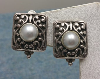 Sterling Silver Genuine Pearl Shadowbox Clip Earrings Nouveau Inspired