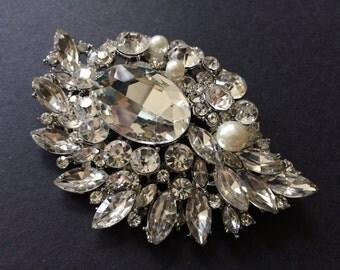 Large Victorian Love Swarovski Rhinestones Crystals and Pearls Wedding Bridal Bridesmaids Brooch Pin