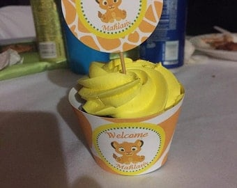 baby lion king cupcake topper & matching cupcake wrapper (digital file)