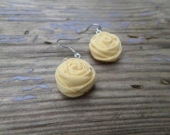 Light yellow earrings, Wedding, Small yellow earrings, Silk flowers earring, Jewelry, Light yellow flowers earring,Small yellow rose earring