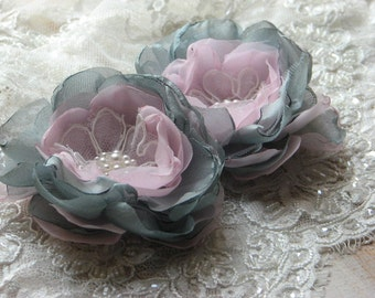 Set of 2 hair flowers Pink grey hair flower Pink grey wedding Grey hair flower Pink hair pin Grey pink hair accessory Wedding pink flower