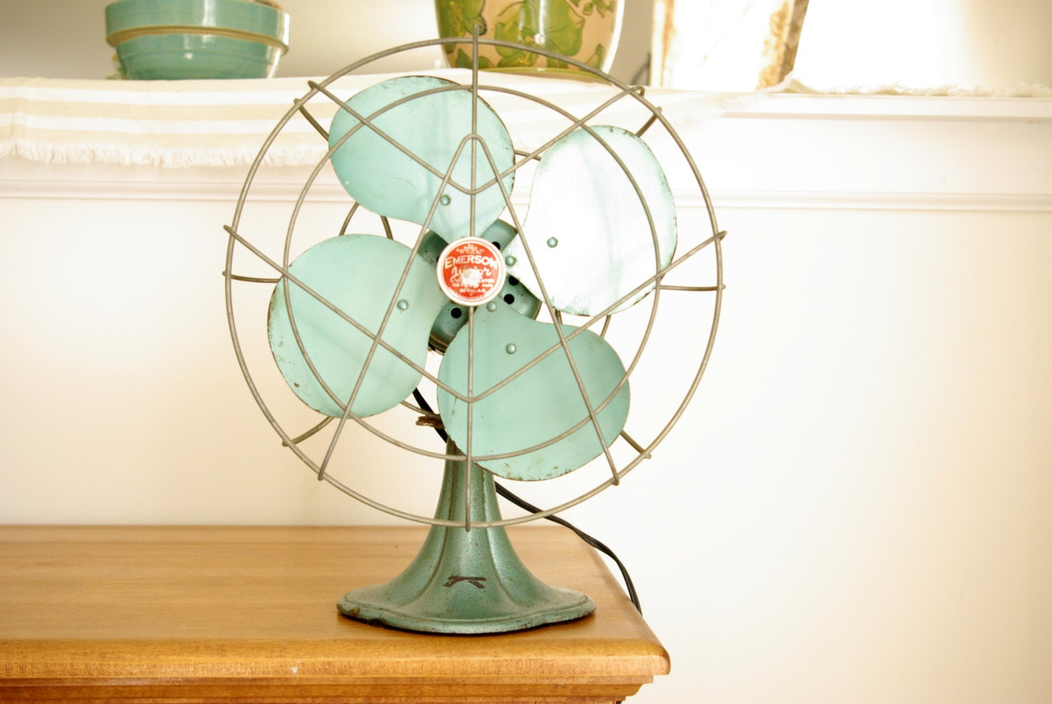 Antique Emerson Fans : Antique emerson junior electric fan in mint green working