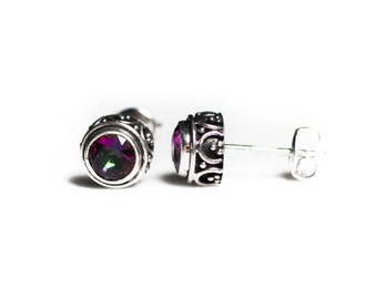 9mm Genuine Mystic Topaz Bali Inspired .925 Earrings