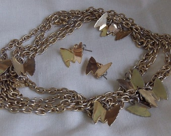 Sarah Coventry Flutter Byes Necklace 8199 and Pierced Earrings 7199 Set   Vintage, Goldentone, Butterfly