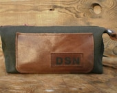 Set of personalized Dopp Kit, Groomsmen gift, Travel Bag, Waxed canvas toiletry bag, Personalized shaving bag, Cosmetic bag, Wedding present