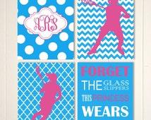 Monogram, girls lacrosse wall art, lacrosse room decor, girls sports art, girls quotes art, inspirational girls art, set of 4