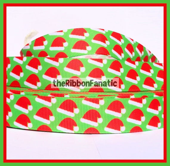 5 Yds 7 8 Quot Red Santa Hats On Lime Green Christmas