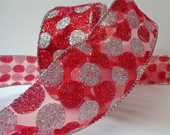 Red and Silver Glittered Ribbon, 25 Yard Roll