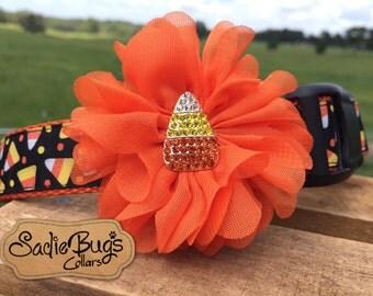 Candy Corn flower collar attachment - Halloween dog collar