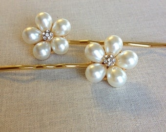 Pearl hair pins, pearl, flower, rhinestone, bobby pins, hair, jewelry, wedding, hair slide, bridesmaid, bridal, hair pin, gold
