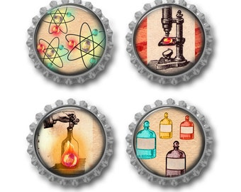 Science magnets vintage microscope laboratory potions experiments scientist gift science teacher, set of 4, comes with magnetic gift tag.