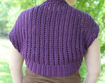 Purple knit lacy shrug
