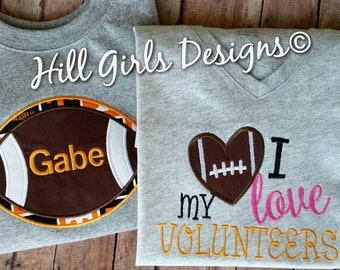 """University of Tennessee appliquéd """"I Love my Volunteers"""" or appliquéd football shirt with embroidered name"""