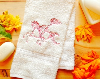 embroidered headless horseman towel halloween towel halloween bathroom decor hand towel bath - Halloween Bath Towels