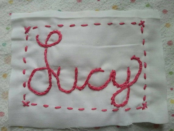 Hand embroidered name tag add a to