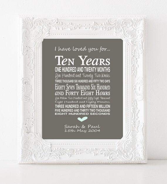 10th anniversary gift - personalised anniversary print- anniversary ...