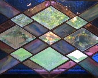 Purple Diamond Glass Panel With Bevels