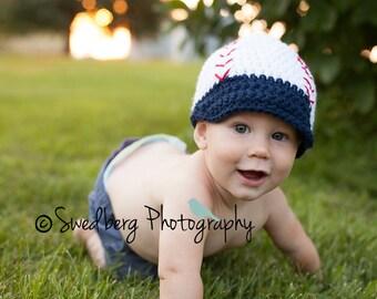 NAVY & WHITE BASEBALL Hat Preemie to 12 months photo prop baseball cap shower gift baby boy, spring/summer baseball hat made to order