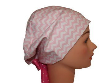 Scrub Hat Surgical Scrub Cap Chemo Vet Nurse Dr Hat EuroGlam Pixie European Style Pink Chevron Dots 2nd Item Ships FREE