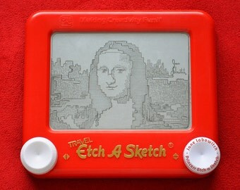 8 bit Mona Lisa signed Etch A Sketch art print (pick your size!)