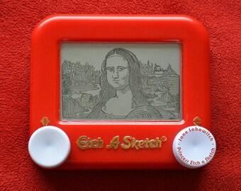 Leonardo Da Vinci's Mona Lisa signed Etch A Sketch art print (pick your size!)